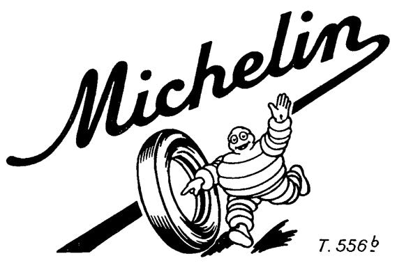 1950 Michelin logo - The 1950 Michelin logo features a cheery Bibendum without a cigar. All images © Michelin