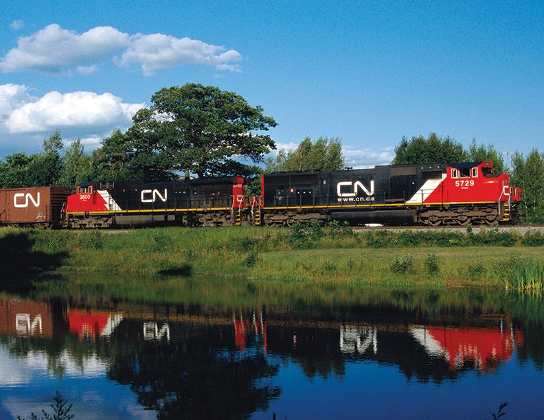 the canada national logo on a train
