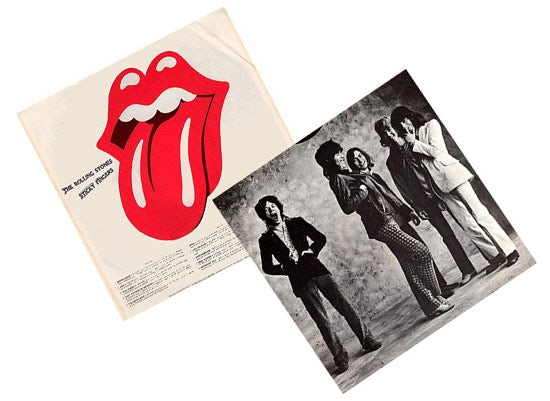 A slightly redrawn version of Pasche's original logo was first used on the inner sleeve of Sticky Fingers