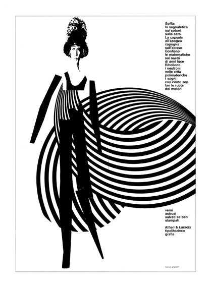 Advertisement for Alfieri & Lacroix, a Milan-based typo-lithographers, from the mid-1960s, displaying a graphic approach similar to that used in the creation of the Woolmark