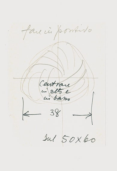 Sketch of the Woolmark logo by Grignani, 1963