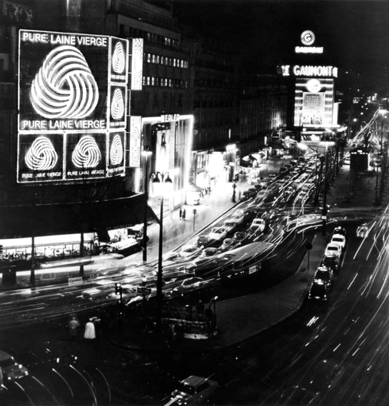 The woolmark logo on display in Tokyo, 1969-70
