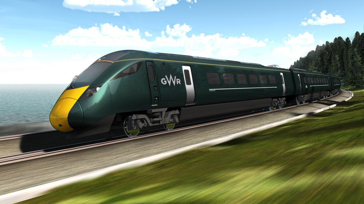 Hitachi electric train, mocked up in the GWR livery, part of the Intercity Express Programme (IEP)
