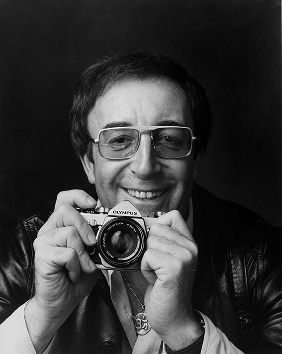 "Peter Sellers, shot by Adrian Flowers for an Olympus ad campaign in 1973. The original ad ran with the copyline ""No prizes for guessing the name"". © Adrian Flowers"