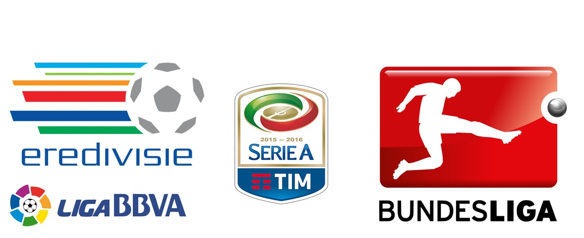 Logos for, clockwise from bottom left, La Liga (Spain), the Eredivisie (Netherlands), Serie A (Italy) and the Bundesliga (Germany)