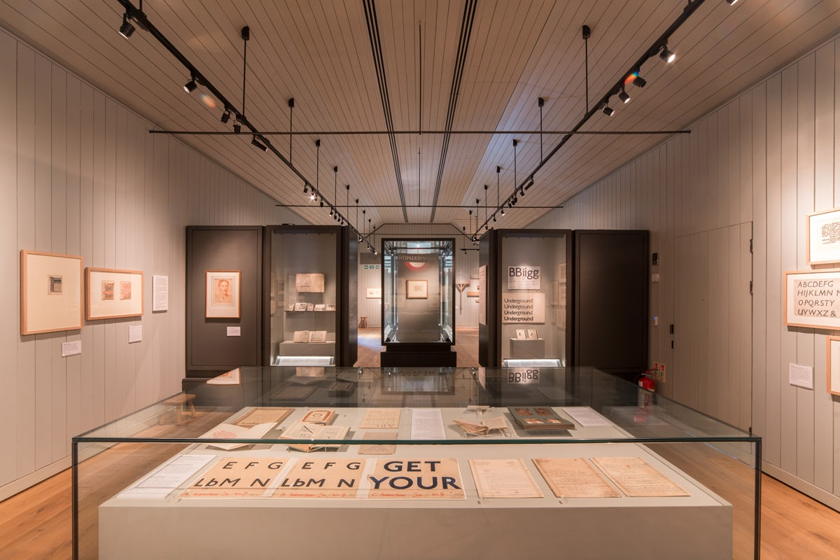 Installation views of Ditchling Museum of Art + Craft's Johnston show