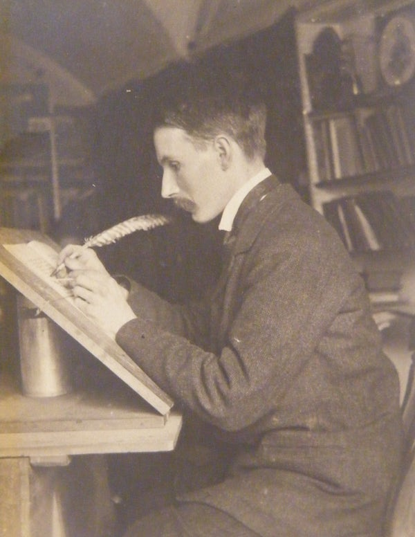 Edward Johnston at his desk; Private collection