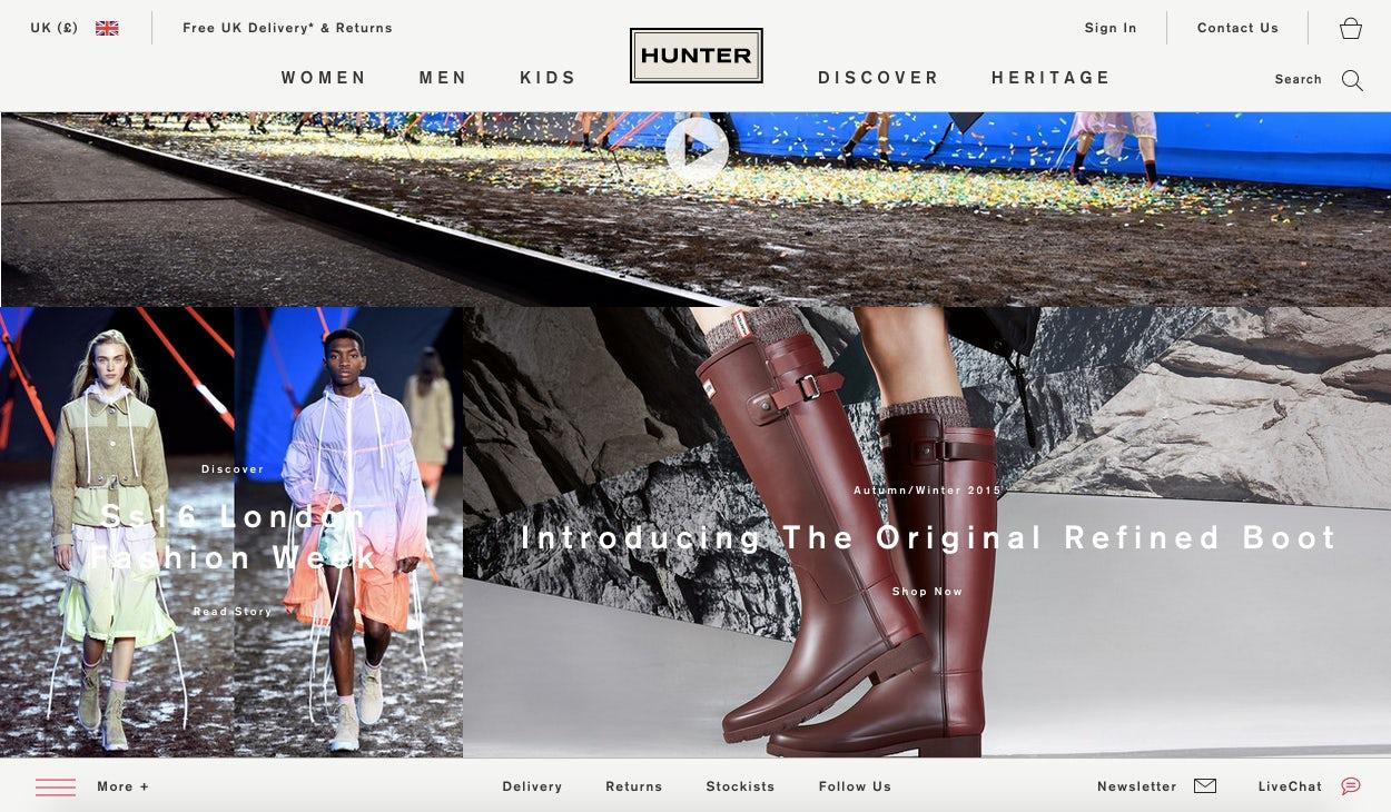 Hunter's new website, designed in-house