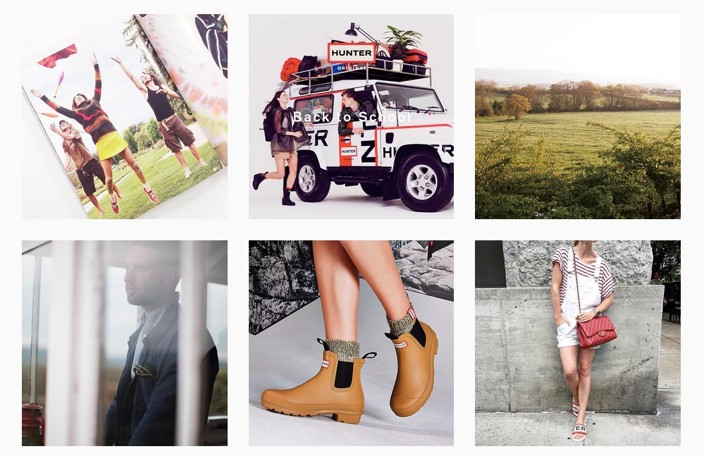 Hunter now has over 200,000 followers on Instagram, posting product shots, campaign stills and footage from events. Hunter's Instagram page also includes a mix of rural and urban imagery, designed to cater to both of the brand's key customer groups.