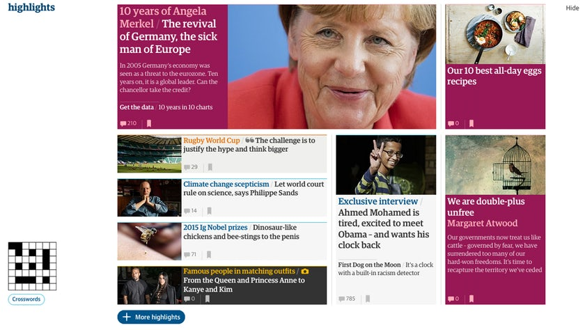 A grab from The Guardian website which demonstrates how the brand uses colour