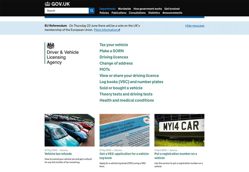 Screenshot of the DVLA website