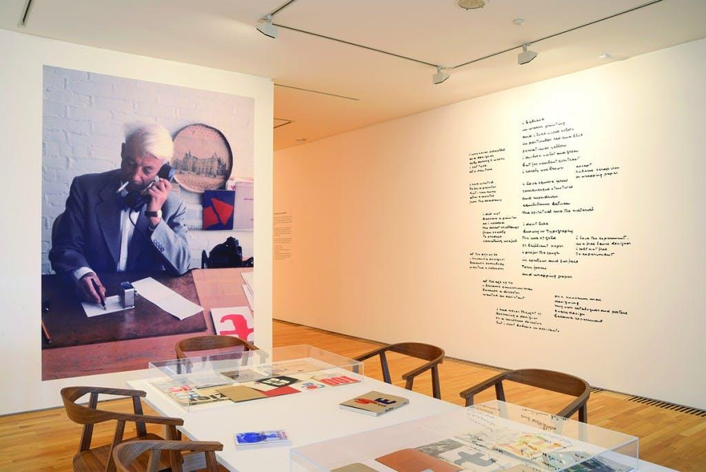 Portrait of designer Willem Sandberg shot by Nigel Green