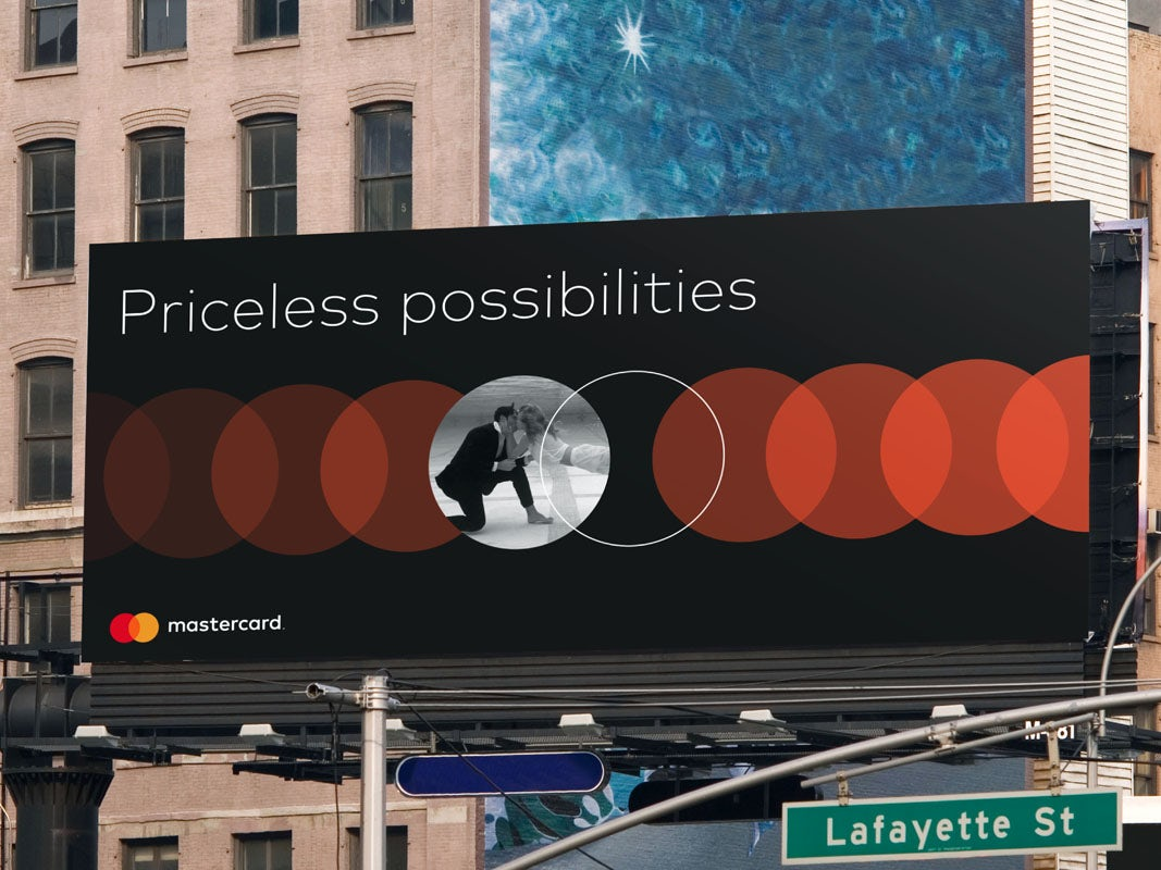 The new mastercard logo on a billboard