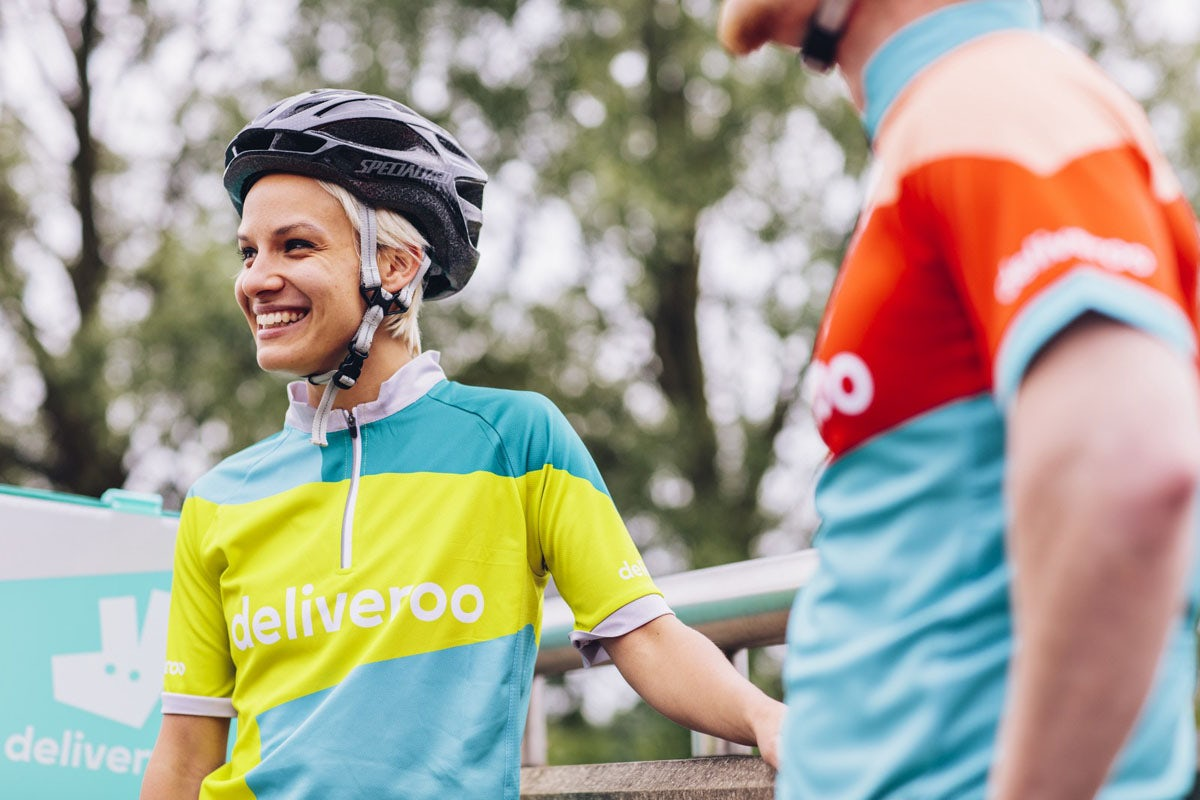 Deliveroo's rider kits feature a design inspired by the company's new logo