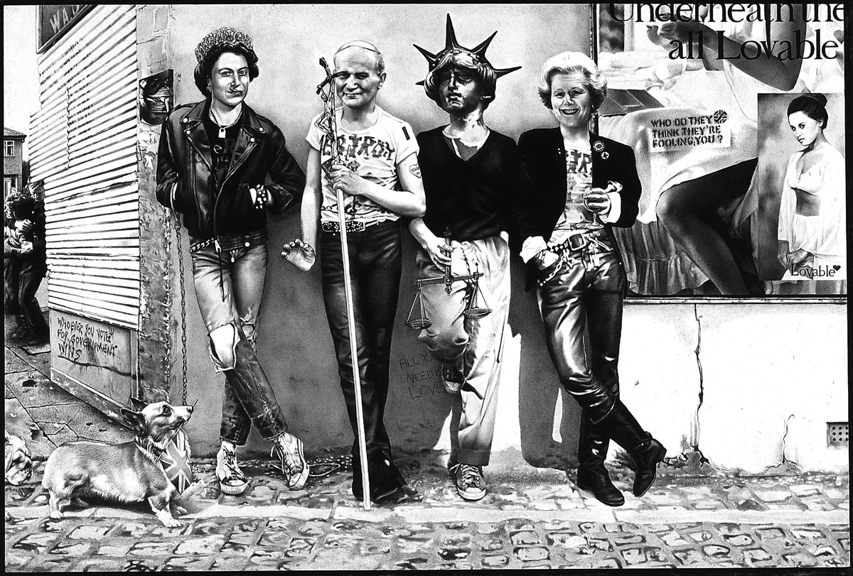 nside poster for Crass single, Bloody Revolutions, 1980, gouache, 430 x 290 mm