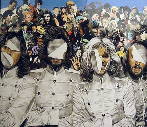Bee Gees record review, Rolling Stone, 1977, gouache and collage, 240 x 230 mm