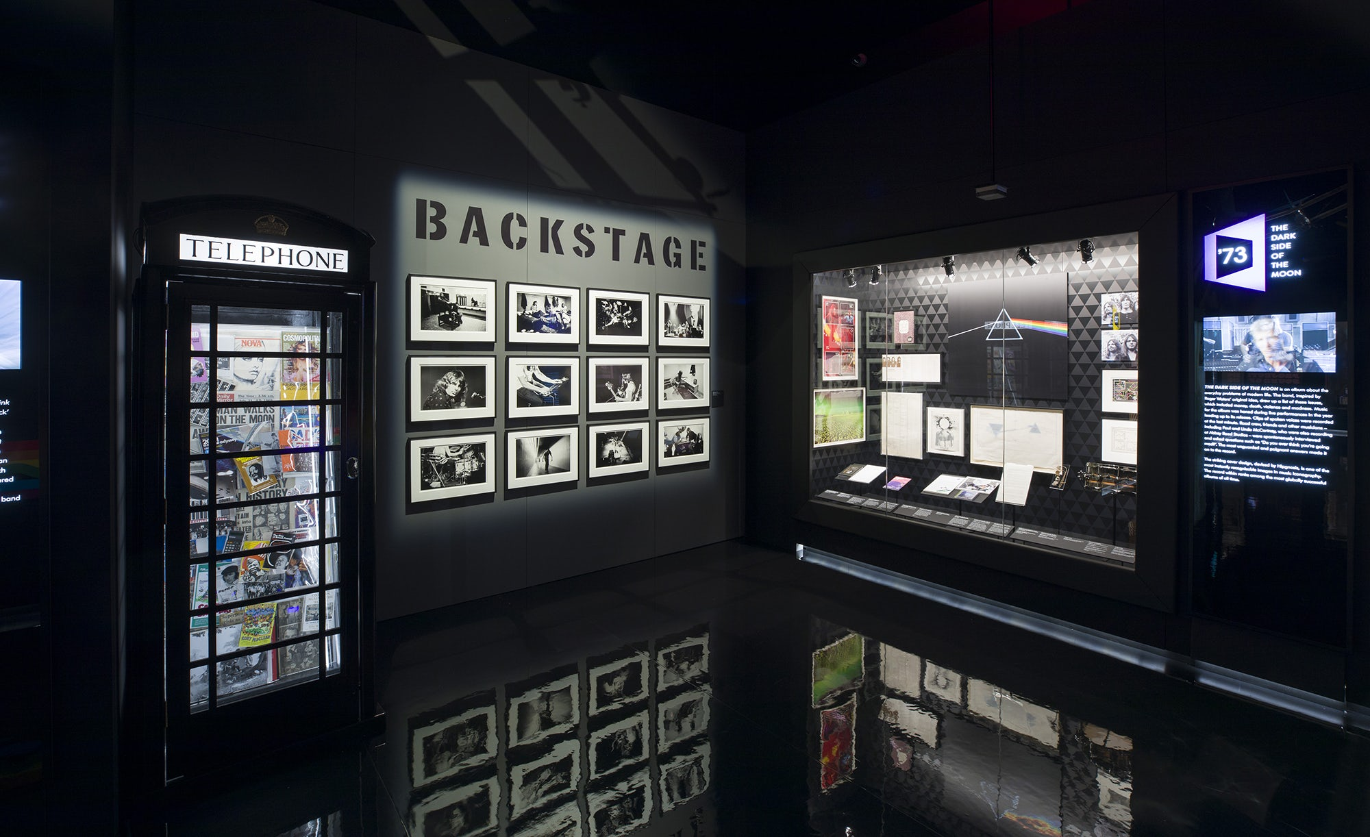 A section exploring the band's rise to fame ends with a look at the release of Dark Side of the Moon. The iconic artwork has also been used to create a holographic image in a separate room. Image courtesy of the V&A