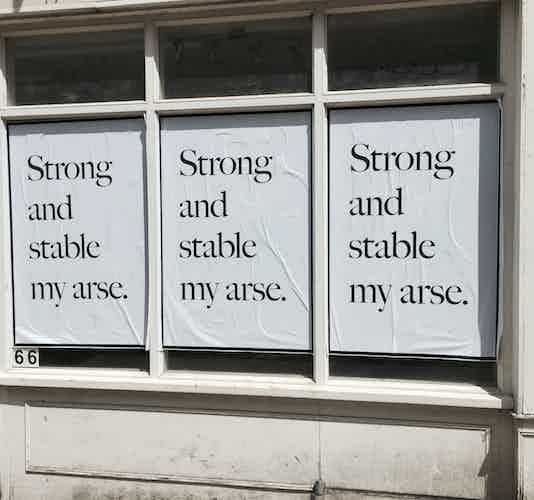 Jeremy Deller Strong and Stable my arse poster