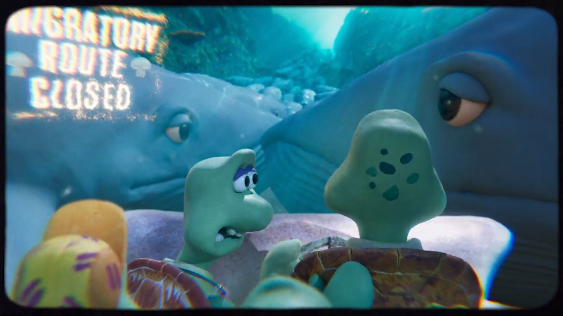 A scene from new Greenpeace ad Turtle Journey