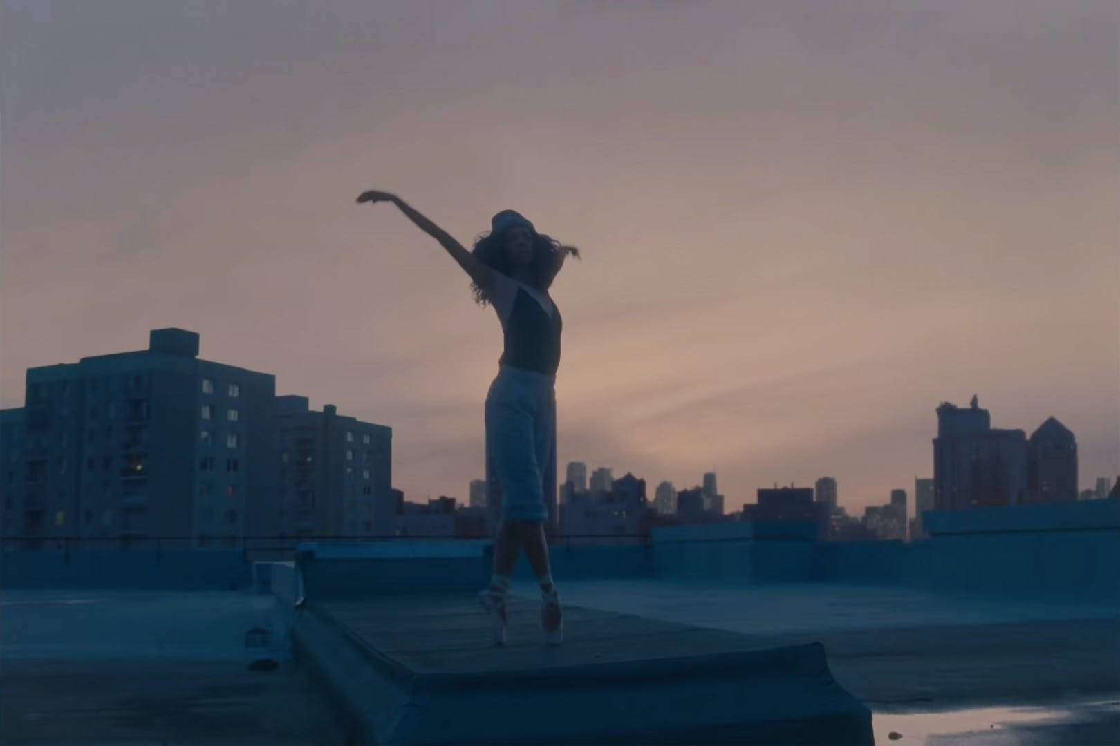Ballerina on a rooftop in Amazon Christmas ad