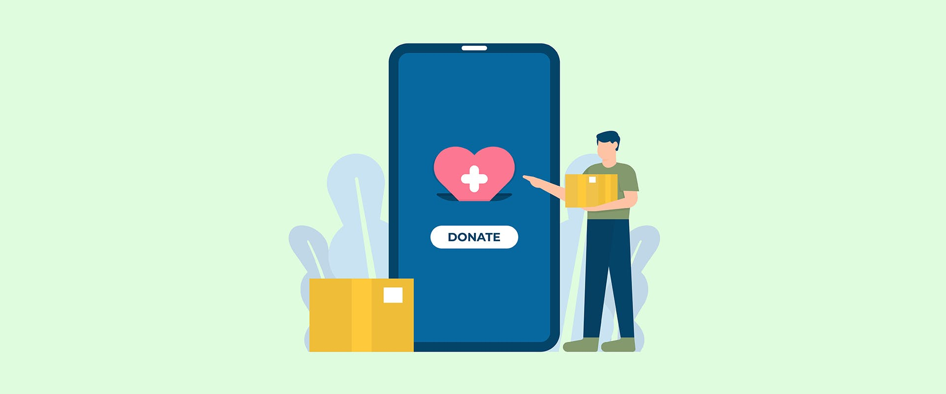 Illustration of smartphone with the word donate